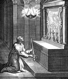 st ignatius offers sword virgin mary