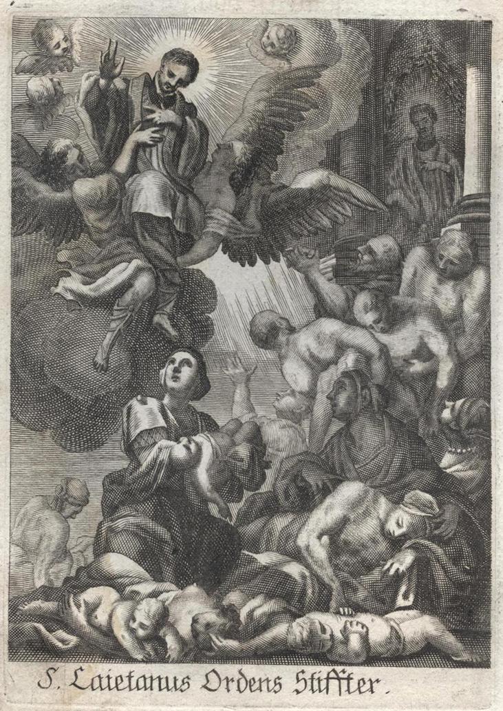St Cajetan curing plague victims, 17th century