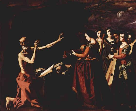 Jerome in the desert, tormented by his memories of the dancing girls of Rome - Francisco de Zurbarán