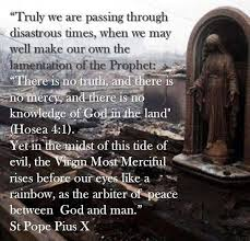 St. Pius X warning.    Our Lady of Lourdes and St. Pius X ora pro nobis.