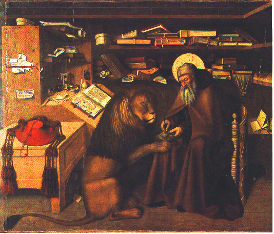 St. Jerome in study  removing a thorn from a lion's paw