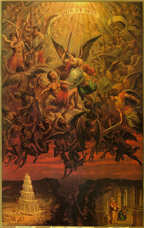 St. Michael the Archangel, Be our defense against the wickedness and snares of the Devil.
