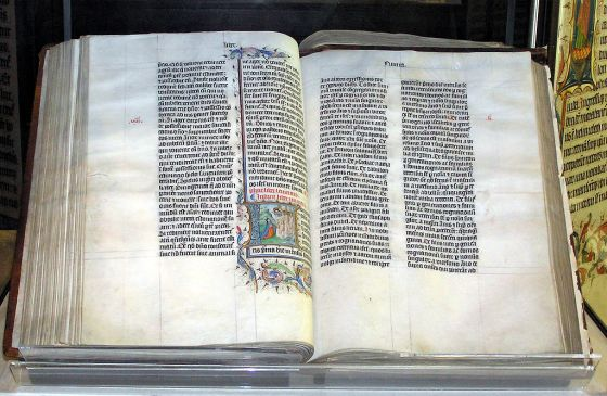 Vulgate A Bible handwritten in Latin -  Wiltshire, England. The Bible was written in Belgium in 1407 AD, for reading aloud in a monastery.