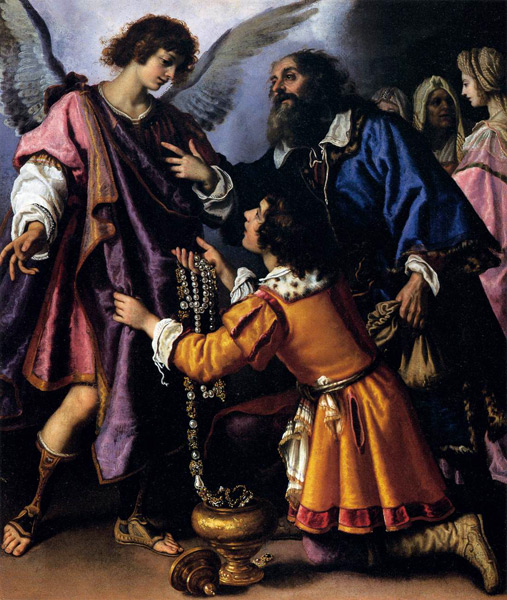 Archangel Raphael Refusing Tobias's Gift. 1612