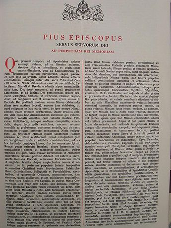 Text of the Bull Quo Primum Tempore, Pope St. Pius V