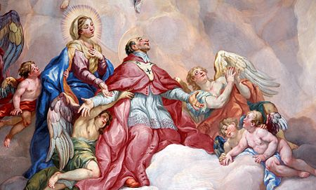 Intercession of Charles Borromeo_supported_by_the_Virgin_Mary_-_Detail_Rottmayr_Fresco_-_Karlskirche_-_Vienna