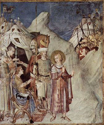 November 11 St Martin leaves the life of chivalry and renounces the army (fresco by Simone Martini)