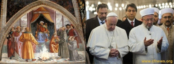 Heretic Bergoglio praying with Muslims, at the Blue Mosque, Istanbul.