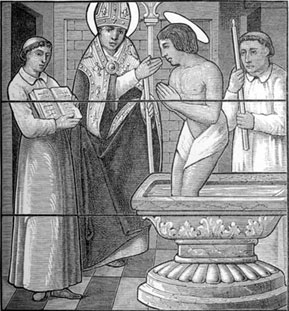 St. Hilary of Poitiers baptizing St. Martin of Tours