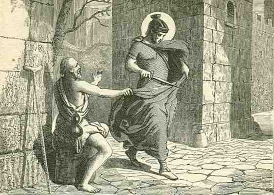 St Martin of Tours -  When a mere boy, Martin became a Christian catechumen, against his parents' wish; and at fifteen was therefore seized by his father, a pagan soldier