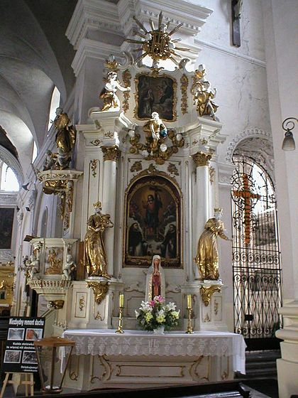 Altar of the Holy Name of Jesus, with the IHS monogram at the top, Lublin, Poland.