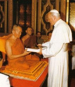Anti-pope john paul II in buddhist temple