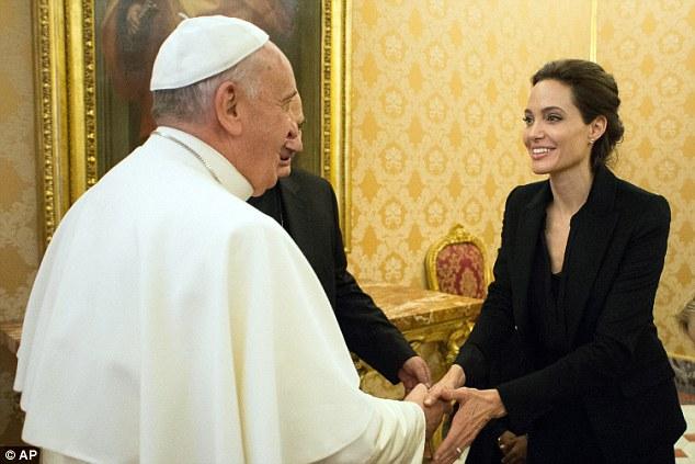 Bergoglio meets famous husband stealing adulterer A. Jolie