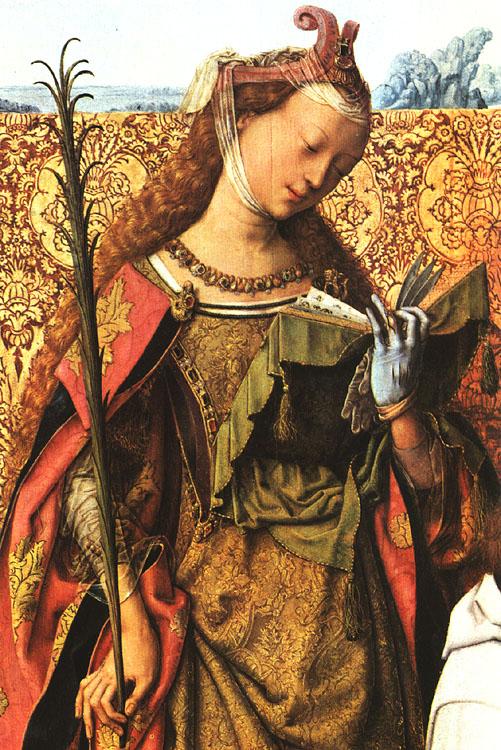 St Agnes, St Bartholomew and St Cecilia (detail)