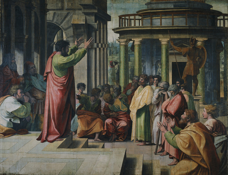 St Paul delivering the Areopagus sermon in Athens, by Raphael, 1515