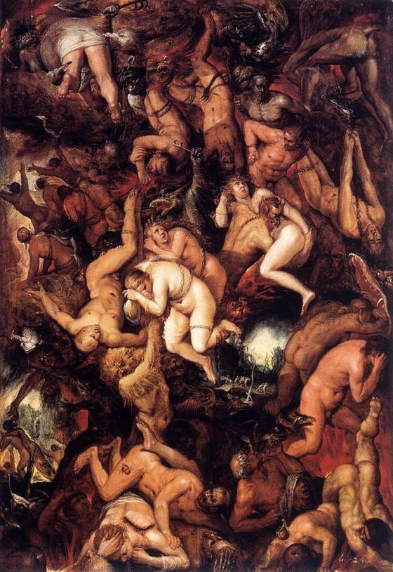 The damned being cast in to Hell. FRANCKEN, Frans II, Oil on oak - 1605-10