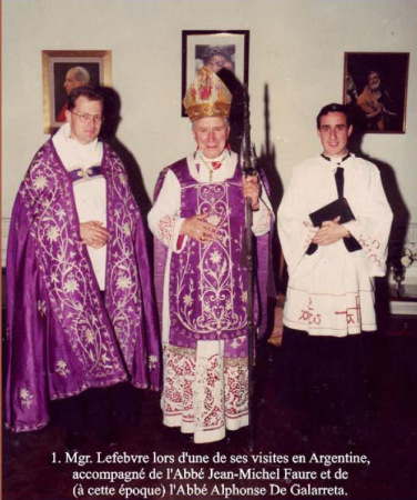 "Father Faure with Msgr. Lefebvre and Father Alfonso de Galarreta (from 1988: ""Mgr. Alfonso de Galarreta""). Tomorrow also Father Faure should become ""Mons. Faure ""."