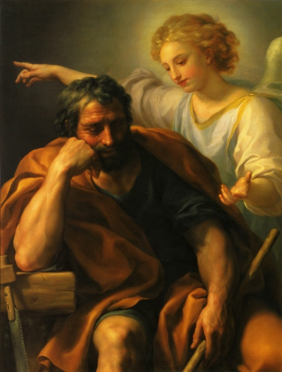 Dream of St. Joseph -  First dream: behold the angel of the Lord appeared to him in his sleep, saying: Joseph, son of David, fear not to take unto thee Mary thy wife, for that which is conceived in her, is of the Holy Ghost. -  St. Matthew 1:20 (DRV)