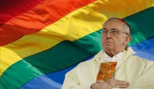 Bishop of Rome poses in front of 'Gay Flag'