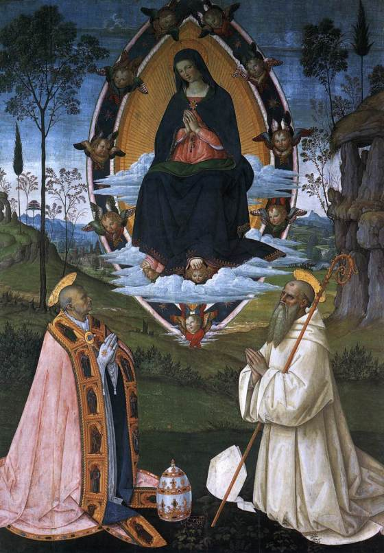 The Ascended Virgin with Sts Gregory the Great and Benedict -  Pinturicchio (1512)