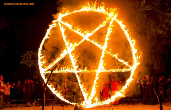Worship: Participants dance before giant burning pentagrams before they pledge their souls to Satan. 'It was disgusting', said shocked Michelle Gomez following the gruesome ritual.