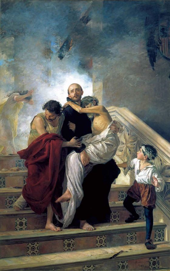 St. John of God saving the Sick from a Fire at the Royal Hospital - by Manuel Gómez-Moreno González (1880)