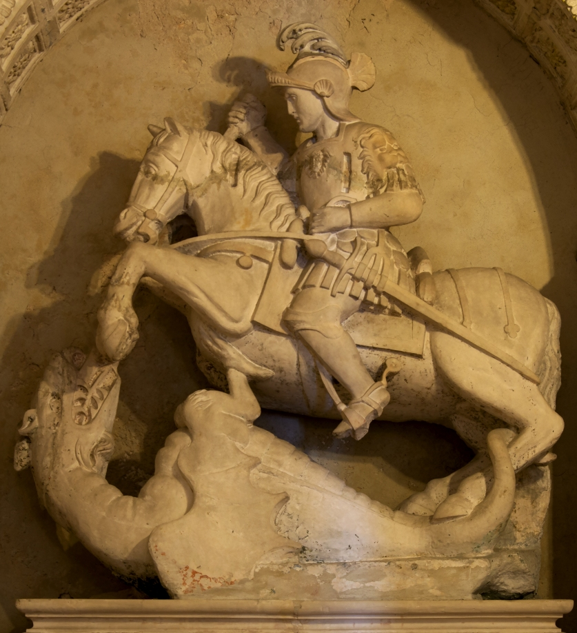 April 23 Medieval statue of St. George in the Church Madonna della Greca in Locorotondo