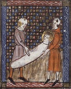 April 28 - martyrdom of Saint Vitalis. This 14th-century French manuscript depicts Vitalis being buried alive