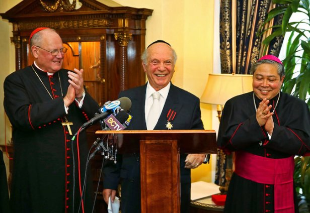 From left, Cardinal Timothy M. Dolan, Rabbi Arthur Schneier and Archbishop Bernardito C. Auza in New York on Monday. Credit Andrea Mohin-The New York Times