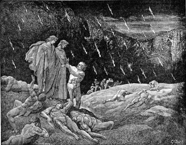 The symbolism of the rain of fire and the scorching sand is that of sterility and unproductiveness: The rain should be life giving, the soil fertile. Instead, symbolically, the sex practices of the sodomite are not life giving. Dante, Canto XV