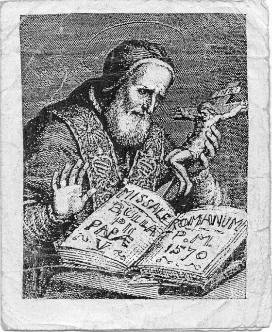 Pius V depicted in an early printed missal