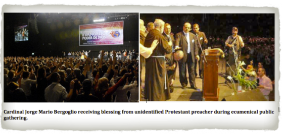 heretic bergoglio blessed by protestant heretic