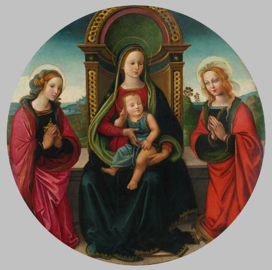 Virgin and Child Enthroned with Sts Mary Magdalene and Catherine - RAFFAELLINO DEL GARBO