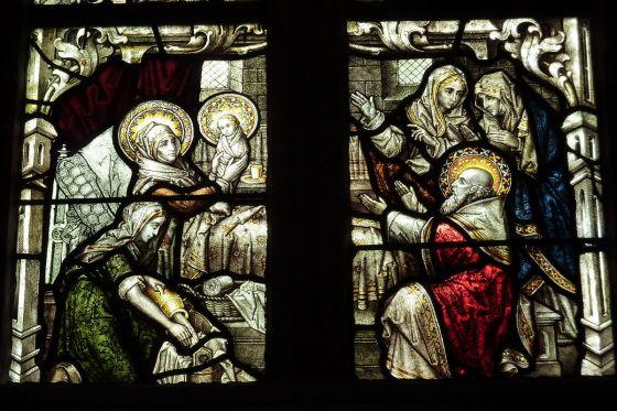 BIRTH OF THE VIRGIN - STAINED GLASS - Monreal (Eifel) Hl. Dreifaltigkeit