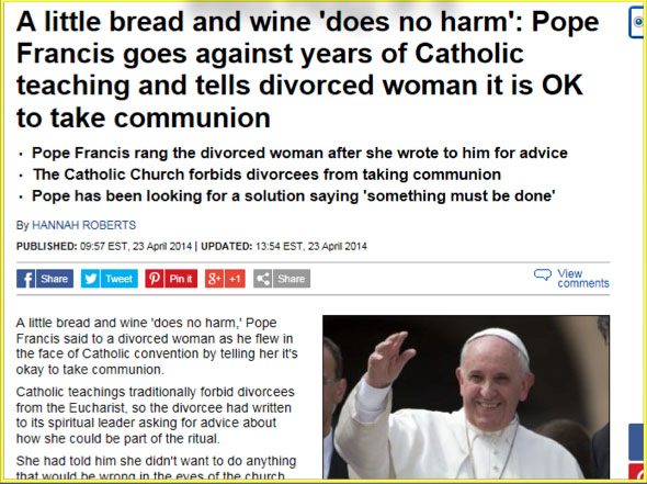 HERETIC BERGOGLIO COMMUNION TO DIVORCED AND REMARRIED HERETIC