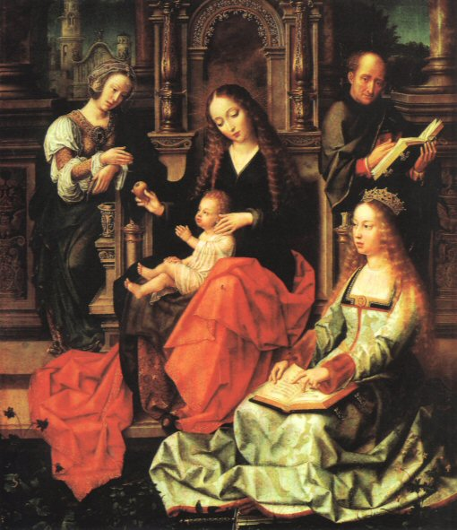St. Catherine of Alexandria, reading again, with sword on the ground, c. 1520