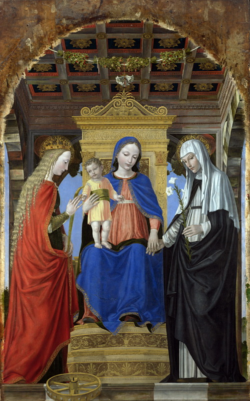 The Mystic Marriage of Saint Catherine of Alexandria and Saint Catherine of Siena, Ambrogio Bergognone
