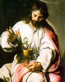 The chalice held by St. John alludes to tradition according to which St. John was handed a cup of poisoned wine, from which, at his blessing, the poison fled in the shape of a serpent.