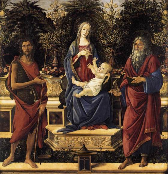 Virgin and Child Enthroned between St John the Baptist and St John the Evangelist by Sandro Botticelli