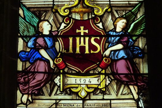 IHS monogram, Montmorency, France - Most Holy Name of Jesus