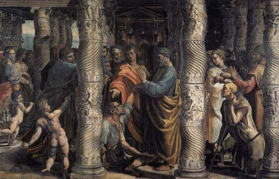 Jesus heals the Great multitudes those that were lame, blind, dumb, maimed, - Raphael, The Healing of the Lame Man (1515)