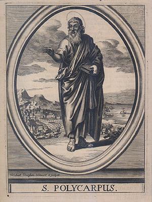 St Polycarpus, engraving by Michael Burghers, ca 1685