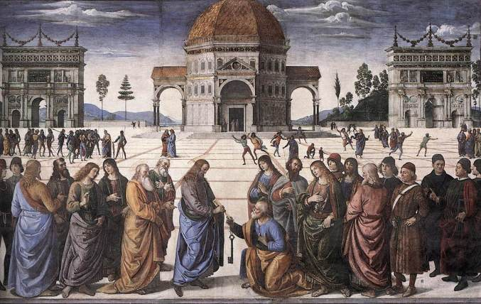 Christ gives keys to St Peter - pietro perugino-1482