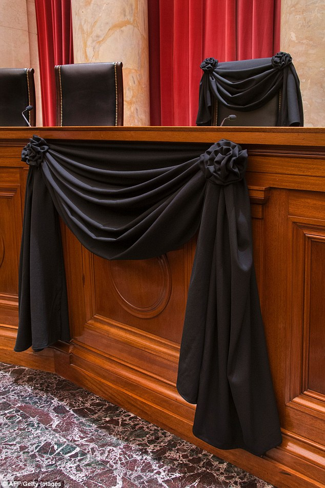 R. I. P. Supreme Court Justice Antonin Scalia. His courtroom chair is draped in black to mark his death as part of a tradition that dates to the 19th century.