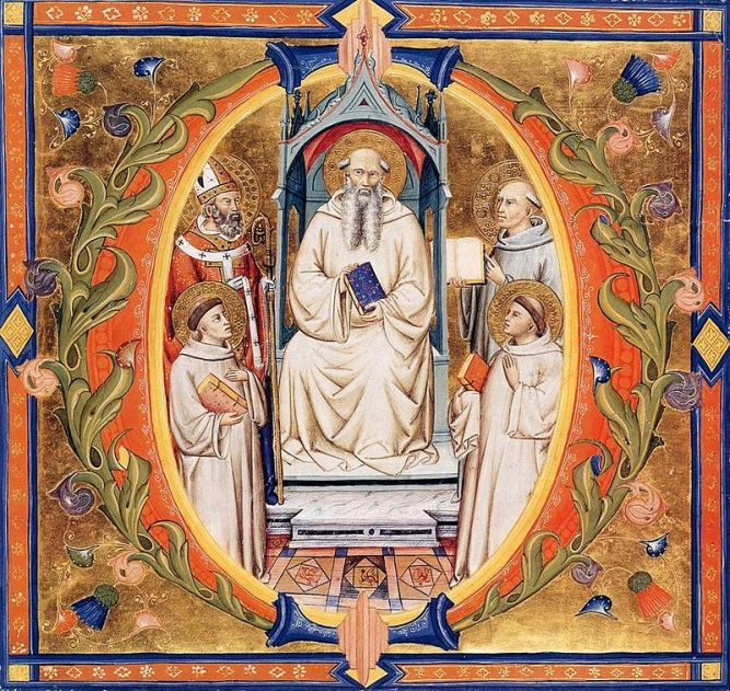 The miniature from folio 90 depicts St Romuald Enthroned with Four Saints in an initial O. This initial begins the introit to the Mass for the feast of St Romuald - Don Silvesto dei Gherarducci