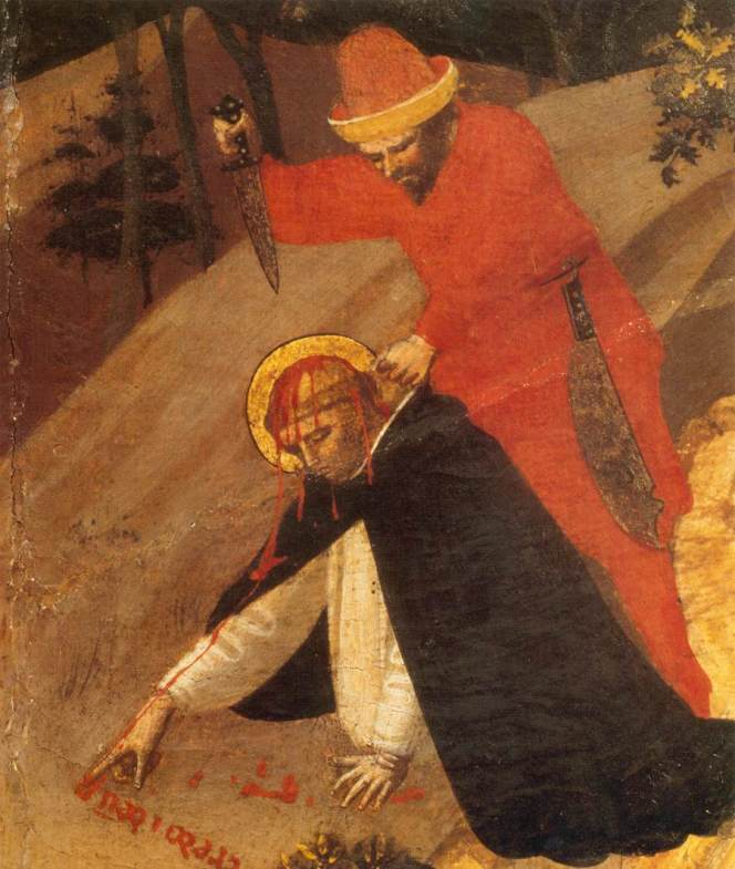 St Peter Martyr Altarpiece (detail) by Fra Angelico - Credo in Unum Deum, I believe in one God…