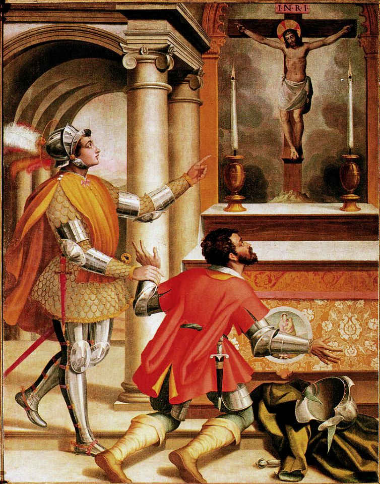 St. Gualbert and his brother's murderer before the crucifix by Alessandro Pieroni