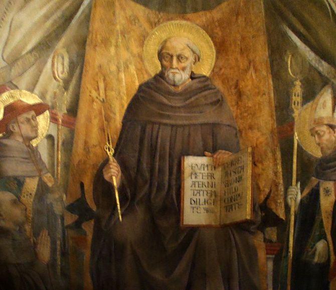 St John Gualbert. Fresco by Neri di Bicci, Santa Trinita in Florence